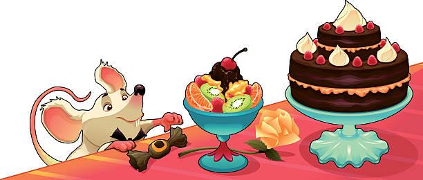 ilustrações, clipart, desenhos animados e ícones de engraçado rato com bolo de cartões e gráficos - fruit salad