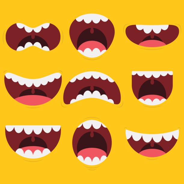 funny mouth collection - otwór gębowy stock illustrations