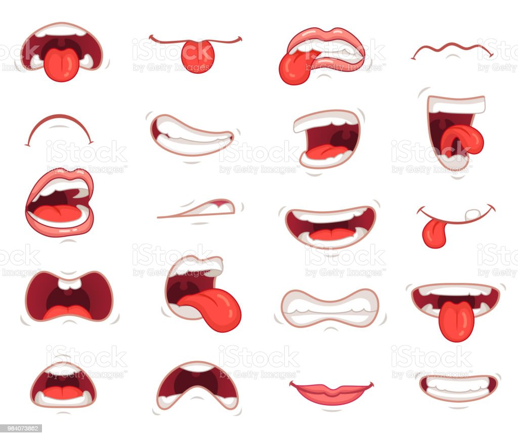 funny mouths facial expressions cartoon lips and tongues