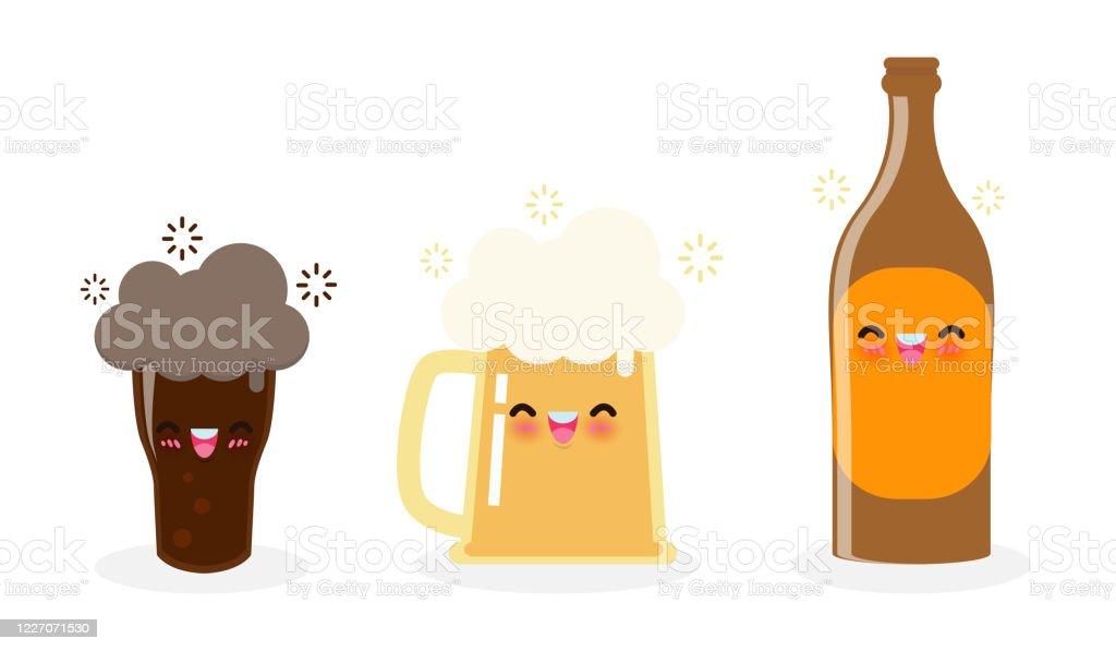 ビールとビール瓶の面白いマグカップダークビールかわいい漫画のキャラクターハッピー国際ビールの日またはフラットスタイルで白い背景ベクトルイラストに分離金曜日のパーティーの お祝いのベクターアート素材や画像を多数ご用意 Istock