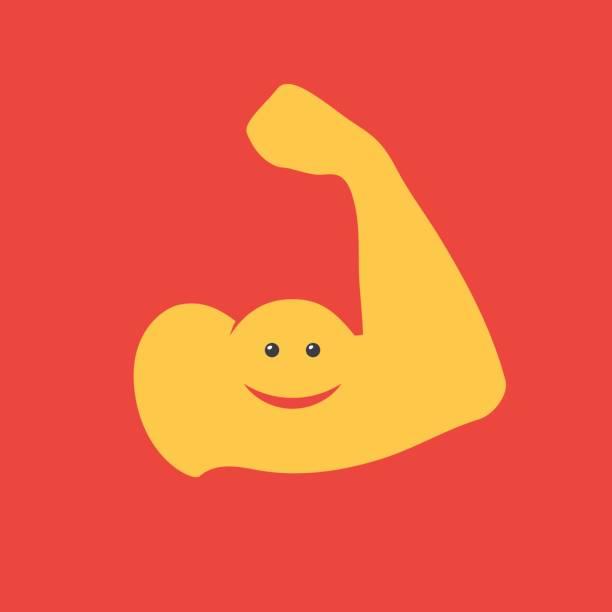 Funny muscular arm vector art illustration