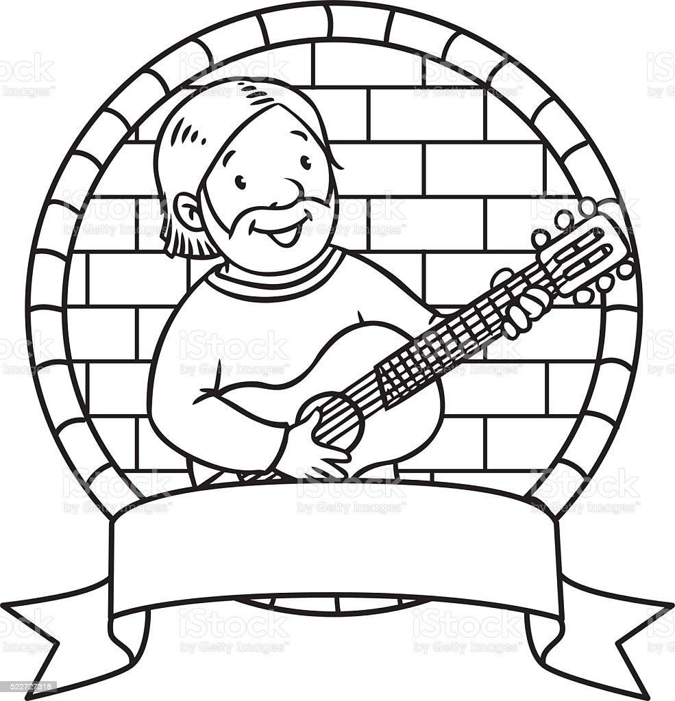 Ilustración de Divertido Músico O Guitarrista Libro Para Colorear ...