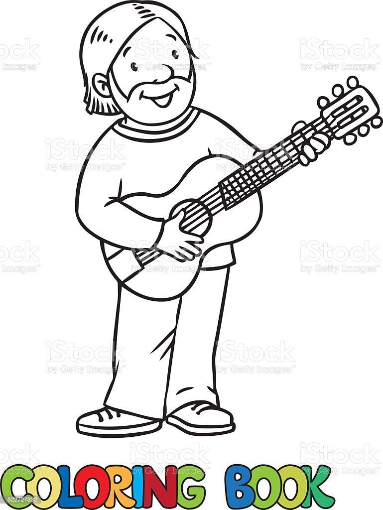 Ilustración de Divertido Músico O Guitarrista Libro Para Colorear y ...