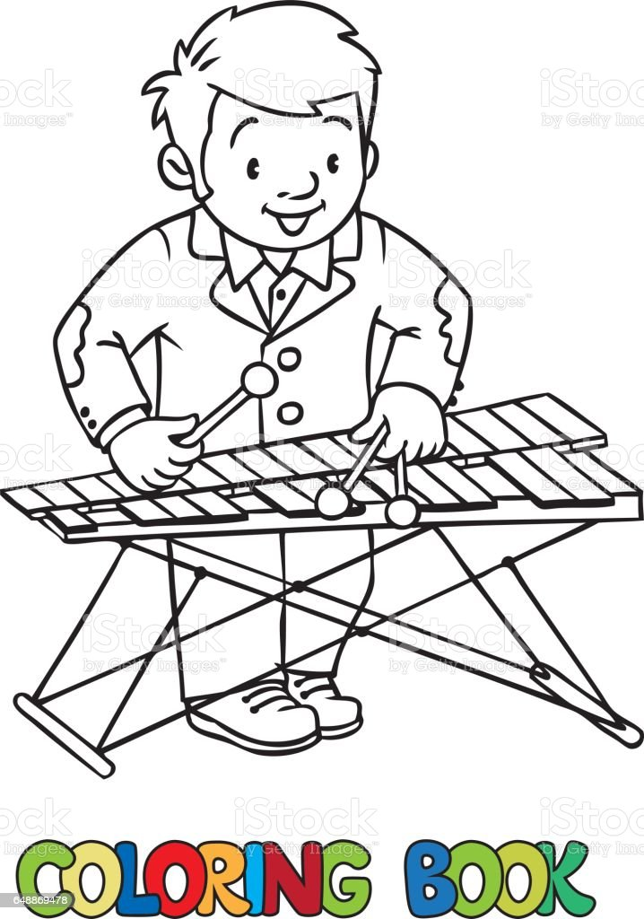Funny Musician Or Xylophone Player Coloring Book Royalty Free Stock Vector Art