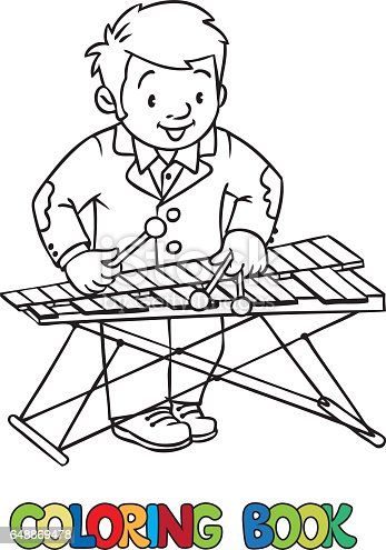 Funny Musician Or Xylophone Player Coloring Book Stock Vector Art 648869478