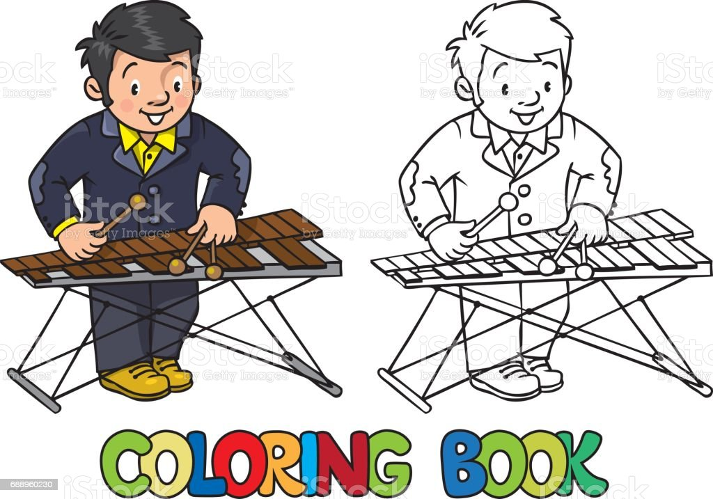 Funny musician or xylophone player. Coloring book vector art illustration
