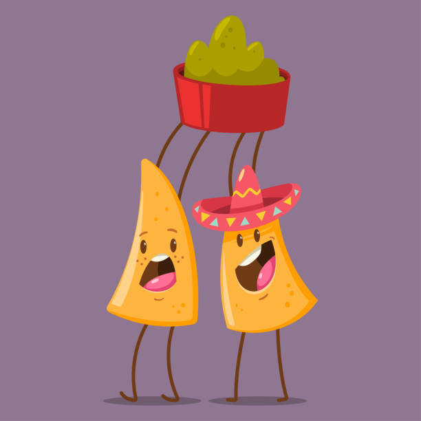 lustiger nachos charakter im sombrero mit guacamole dip. süße mexikanisches essen vektor-cartoon-illustration auf hintergrund isoliert. beste freunde-konzeption. - tortillas stock-grafiken, -clipart, -cartoons und -symbole