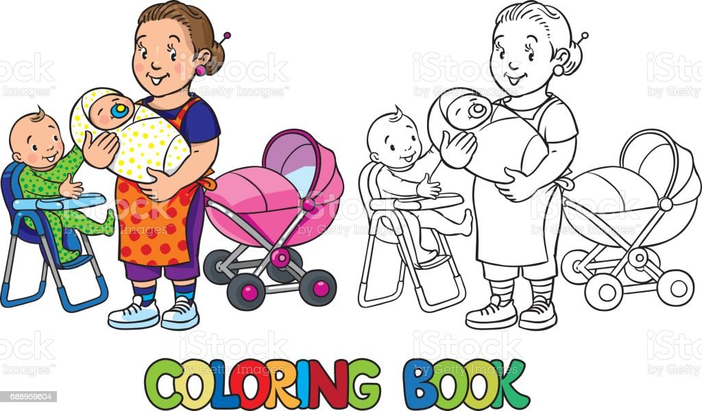 funny nanny with children coloring book royalty free stock vector art
