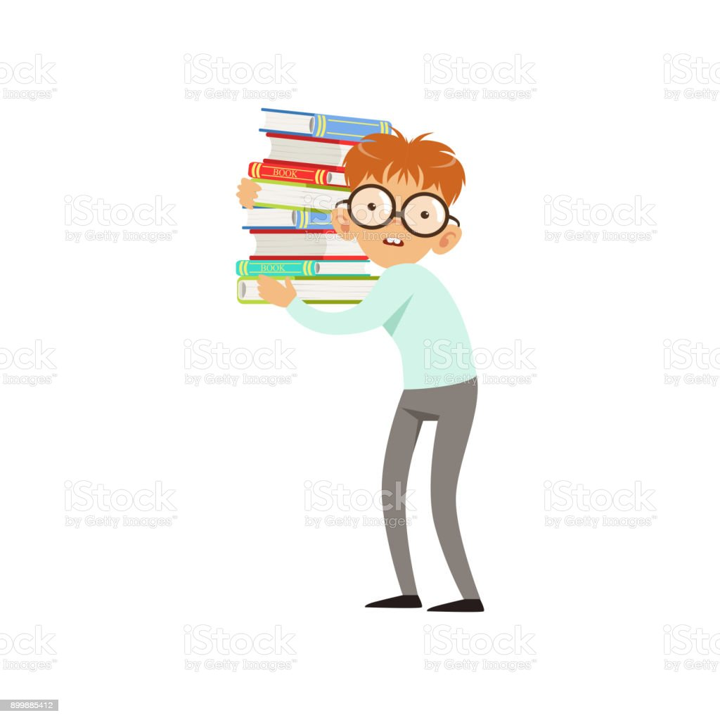 Funny nerd boy carrying stack of books cartoon schooler character in glasses shirt and pants smart kid with two large front teeth