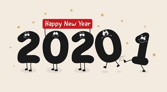 Funny New Year caricature. Funny characters. 2021 kicks off 2020. Happy New Year and Merry Christmas.