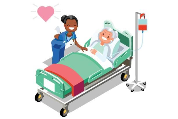 Lustige Krankenschwester und weiblich älteren Patienten im Bett – Vektorgrafik
