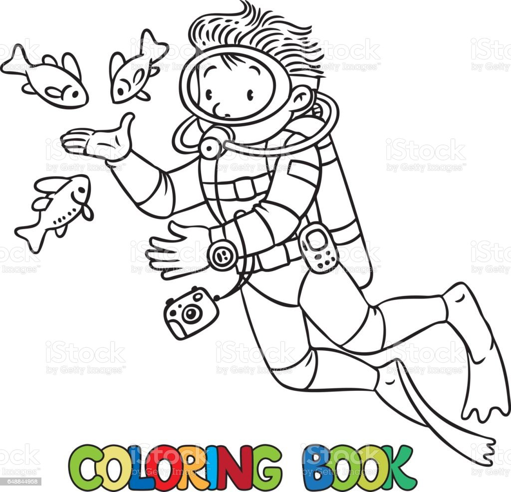 Funny Oceanographer Or Diver Coloring Book Royalty Free Stock Vector Art