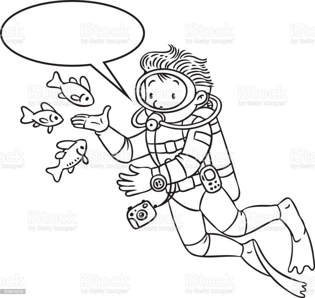 Océanographe Drôle Ou Plongeur Livre De Coloriage Cliparts