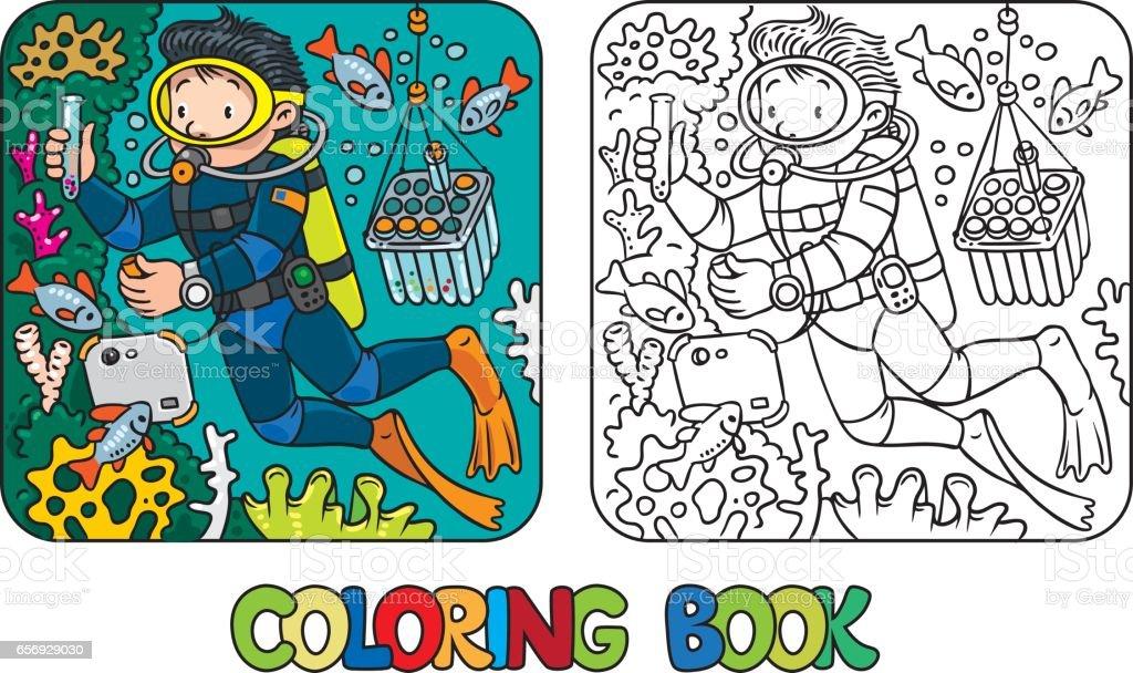 Komik Bilimci Veya Dalgıç Boyama Kitabı Stok Vektör Sanatı Adamlar