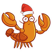 Cute and funny old lobster wearing Santa's hat for Christmas and smiling - vector.