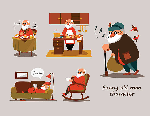 funny old man character - old man sleeping silhouettes stock illustrations, clip art, cartoons, & icons