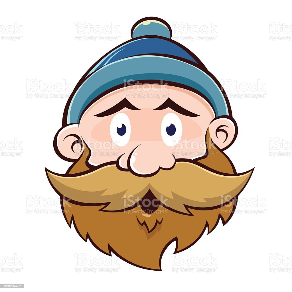 funny old man face with beard and mustache stock vector