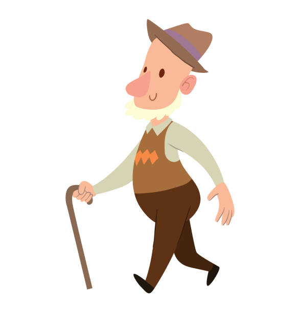 funny old man in brown hat - old man hat stock illustrations, clip art, cartoons, & icons