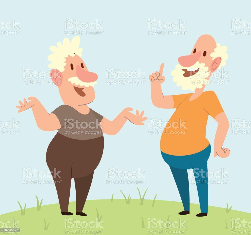 Lustige Alte Manner Freudige Begegnung Auf Einem Naturhintergrund