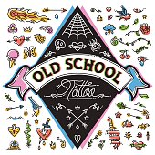 Funny Old School Tattoo Set. Isolated on white background. Clipping paths included in JPG file.