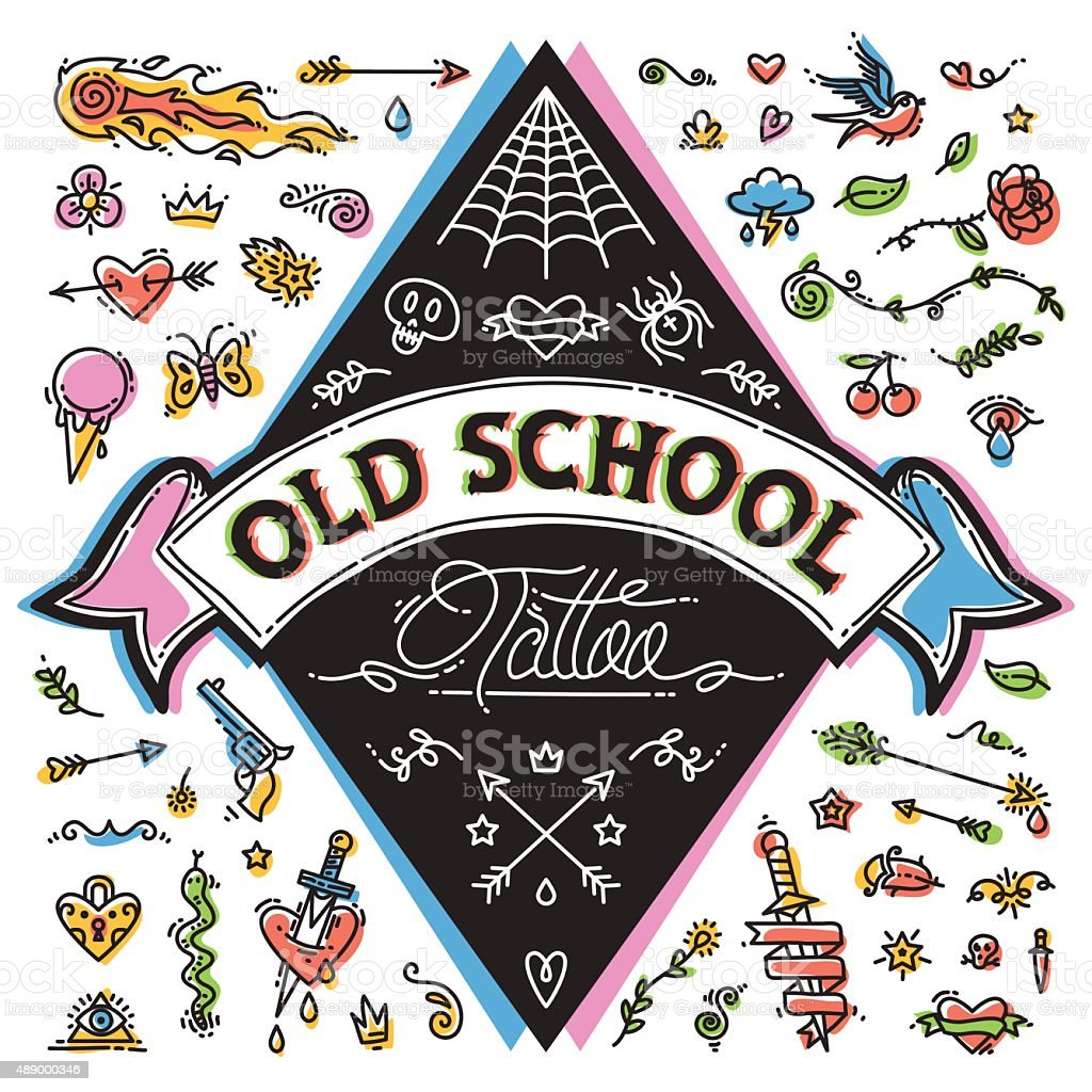 Funny Old School Tattoo Set vector art illustration