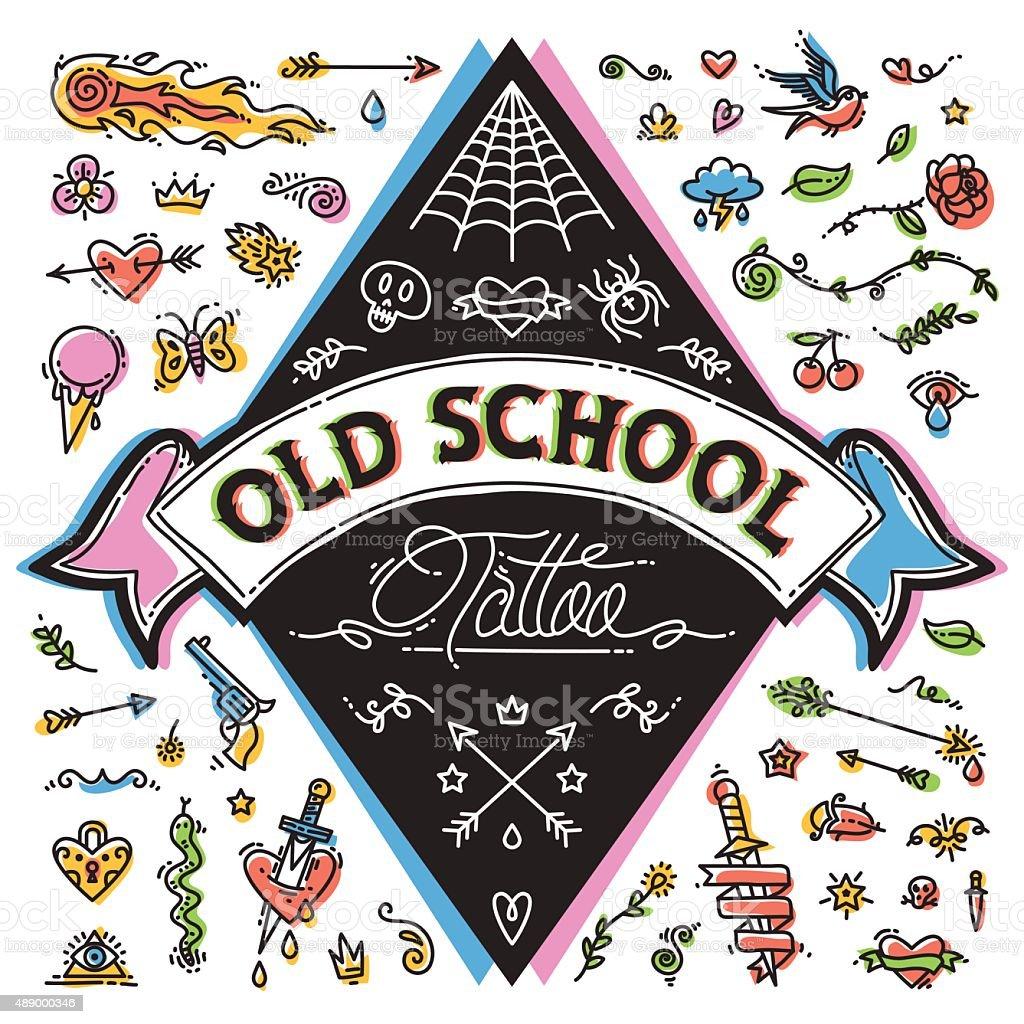 Engraçado Old School tatuagem conjunto - ilustração de arte em vetor