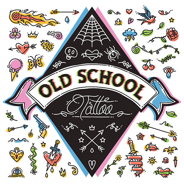 funny old school tattoo set - snakes tattoos stock illustrations, clip art, cartoons, & icons
