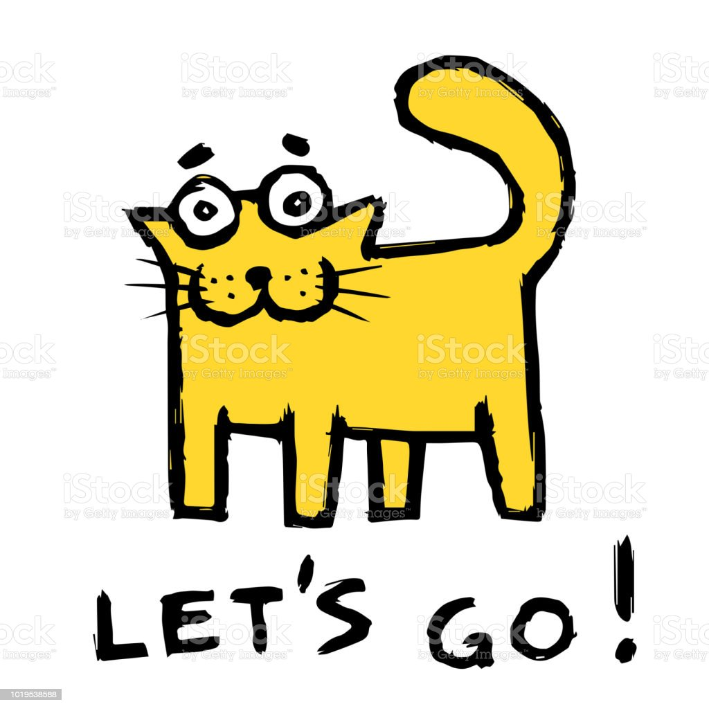 St louis blues dispo! Funny-orange-cat-says-lets-go-vector-illustration-vector-id1019538588