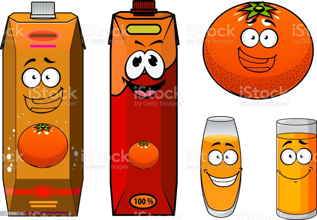 Funny Orange Juice Packs Cartoon Characters Stock