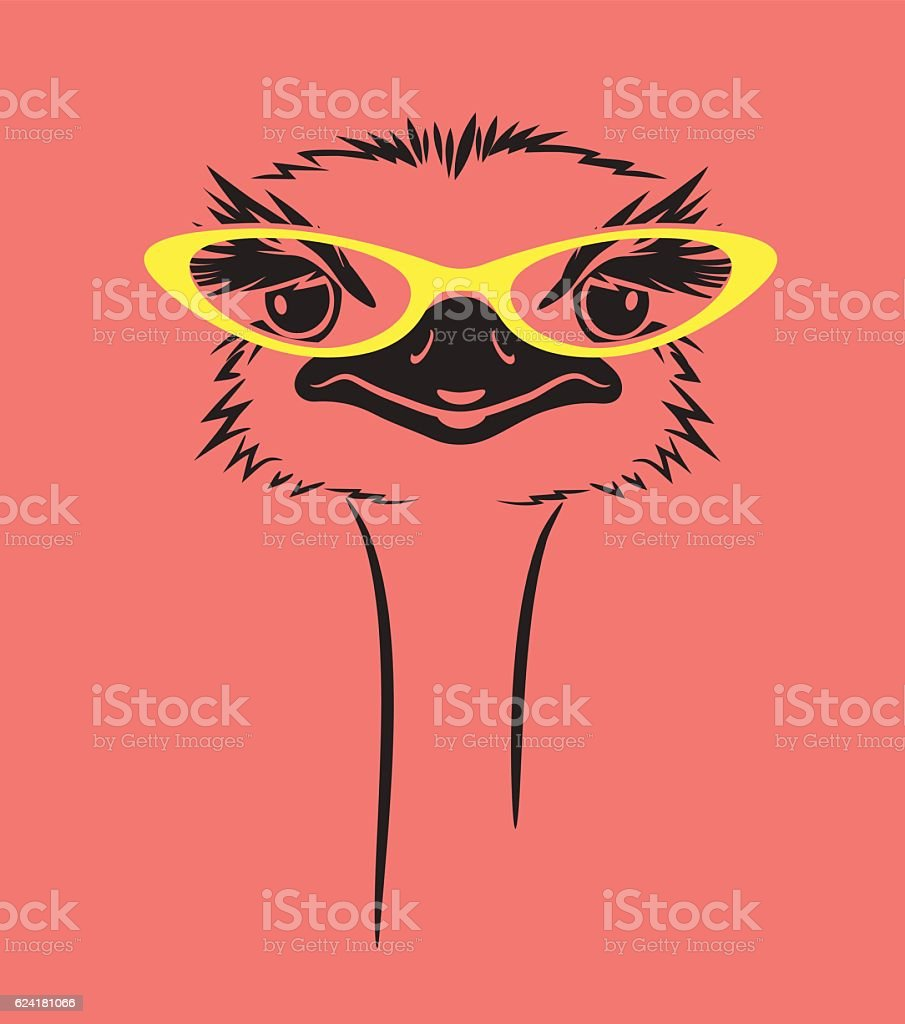 funny ostrich wearing glasses. For t-shirt, poster, print design - Illustration vectorielle