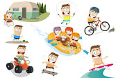 funny outdoor related cartoon man collection