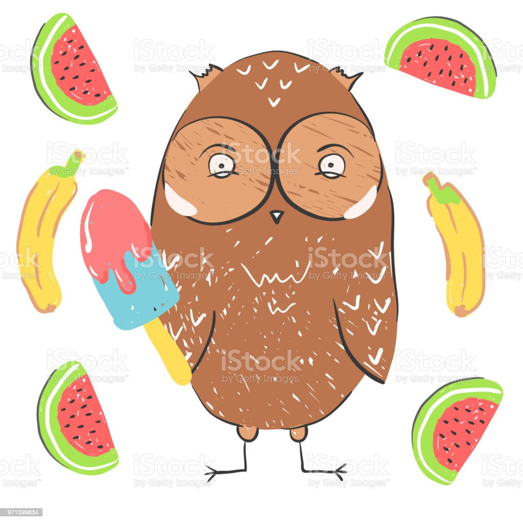 Funny Owl Eating Ice Cream With Banana And Watermelon ...