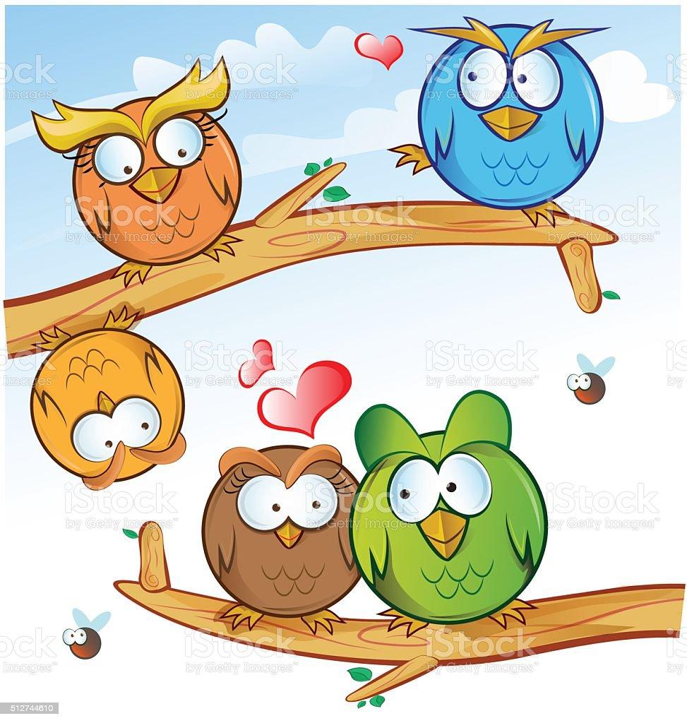 Lustige Eulengruppe Comic Auf Baum Stock Vektor Art Und Mehr Bilder