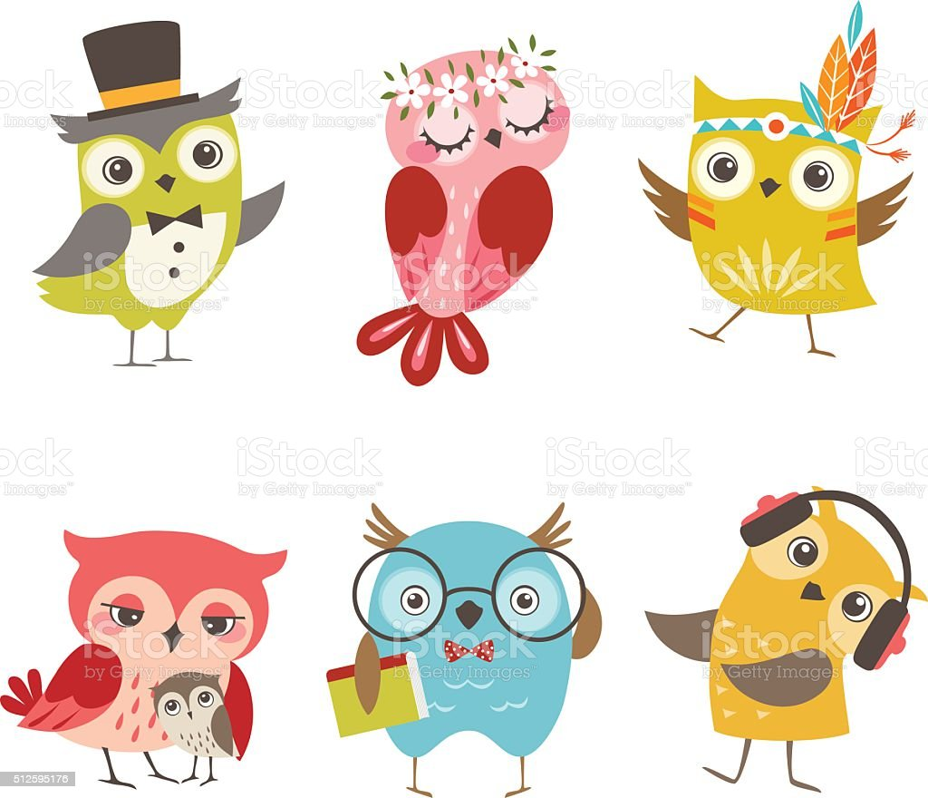 Funny owls vector art illustration