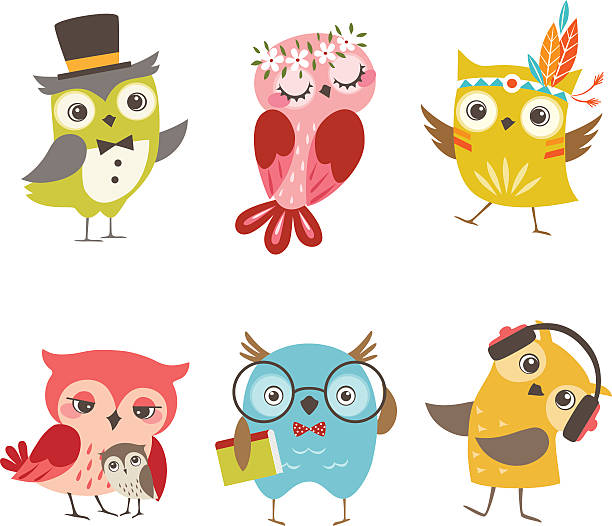 śmieszna owls - sowa stock illustrations
