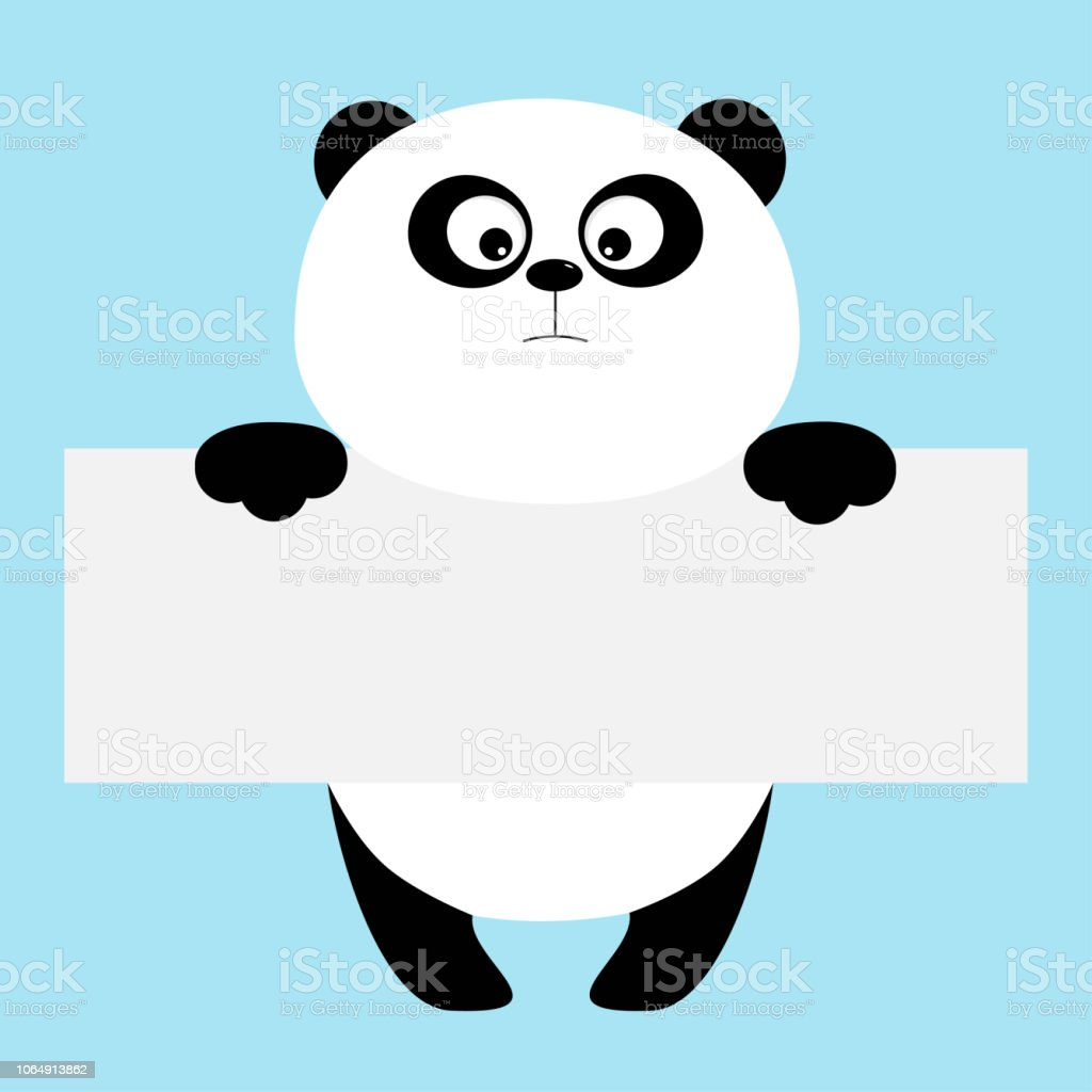 funny panda bear hanging on paper board template big eyes kawaii