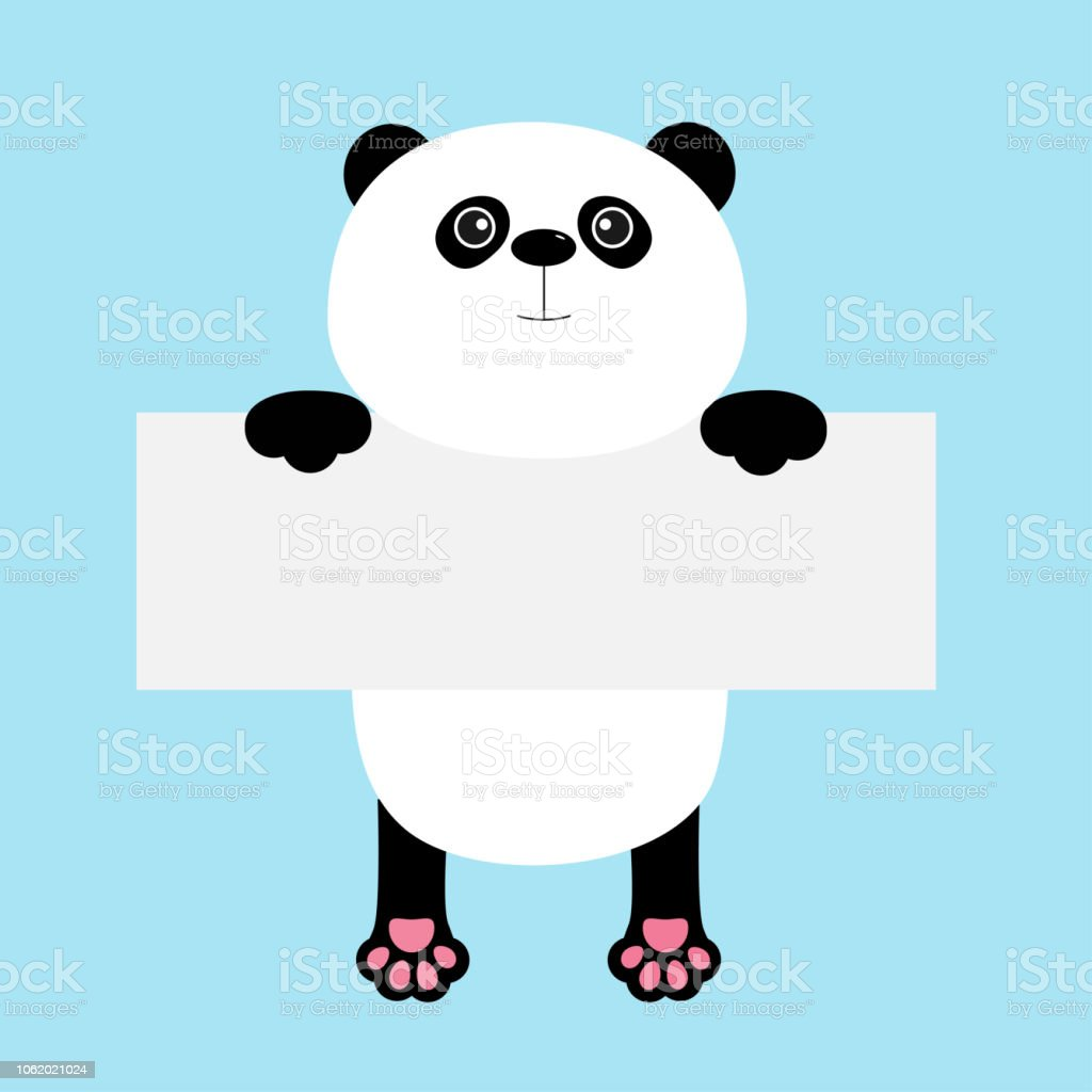 funny panda bear hanging on paper board template kawaii animal body