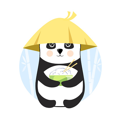 Funny panda with a plate of rice