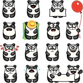 15 smiley pandas individually grouped for easy copy-n-paste.
