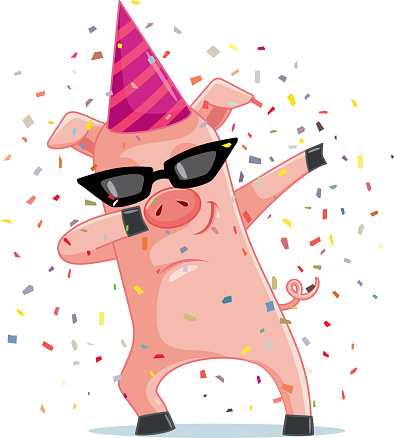 Funny Party  Pig Dabbing  Vector Cartoon