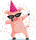 Dancing piggy mascot logo character design