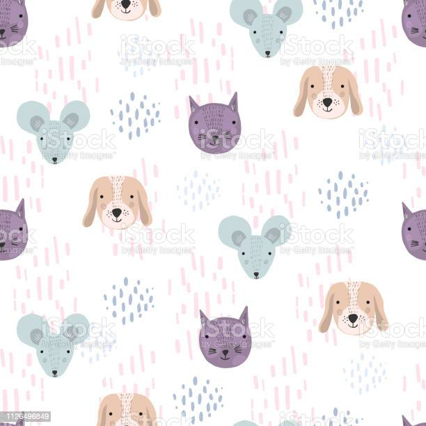 Funny pattern with cartoon cats dogs and mice vector id1126496849?b=1&k=6&m=1126496849&s=612x612&h=uf9n6pp ywvpvtfflcaakaniu1ozjann6l9zf6 escm=