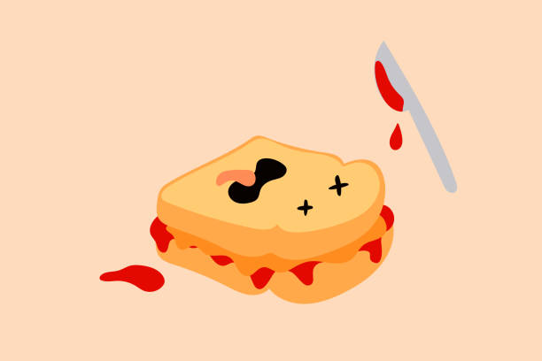 Funny peanut butter and jelly sandwich illustration vector art illustration