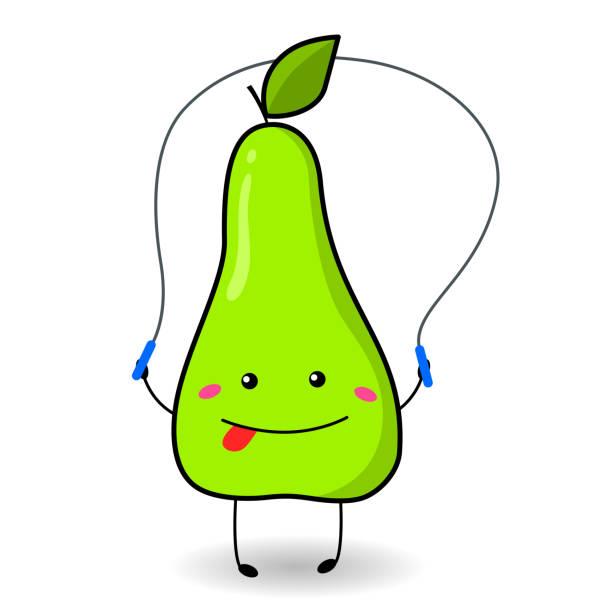 bildbanksillustrationer, clip art samt tecknat material och ikoner med en rolig päron i tecknad stil hoppar på ett hopprep. - gym skratt
