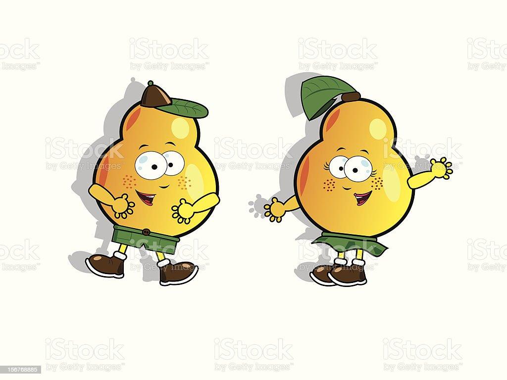 Funny pears vector art illustration