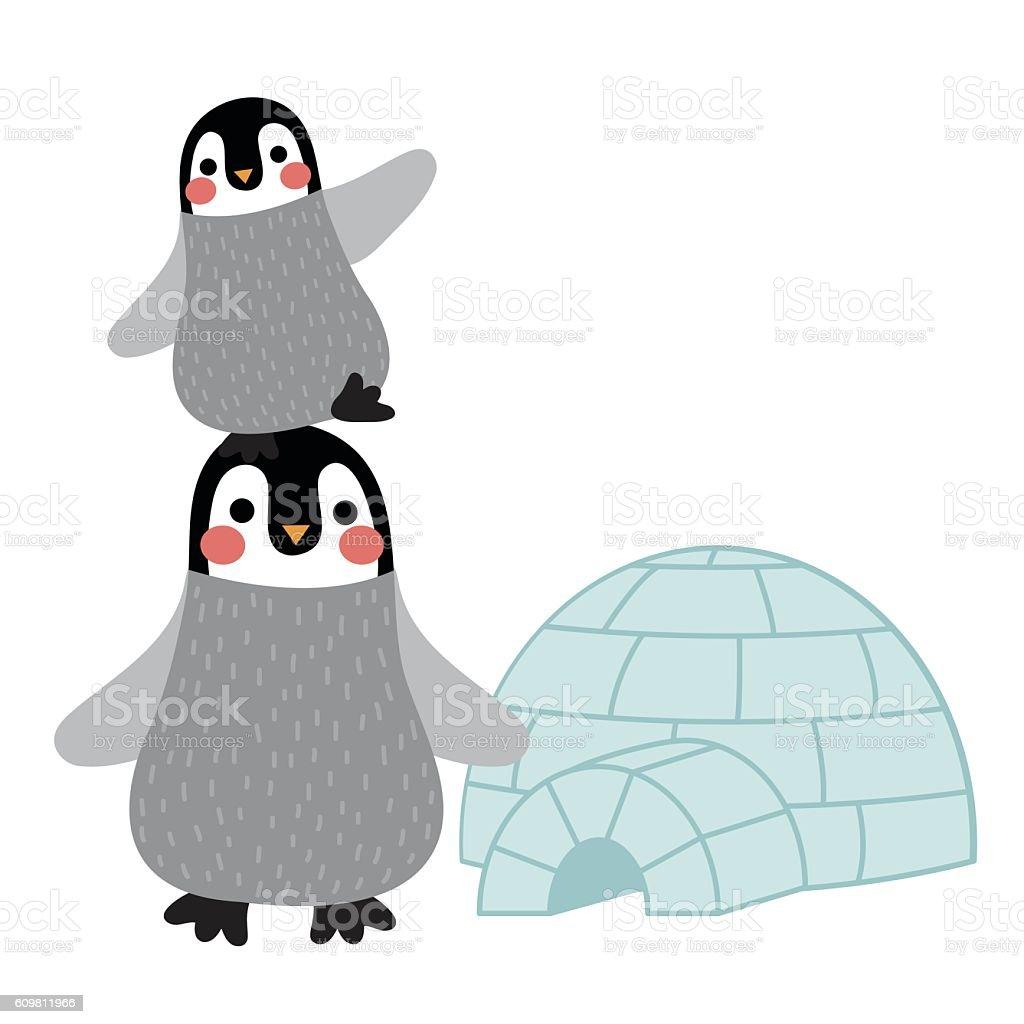 Funny Penguin and igloo animal cartoon character vector illustration. vector art illustration