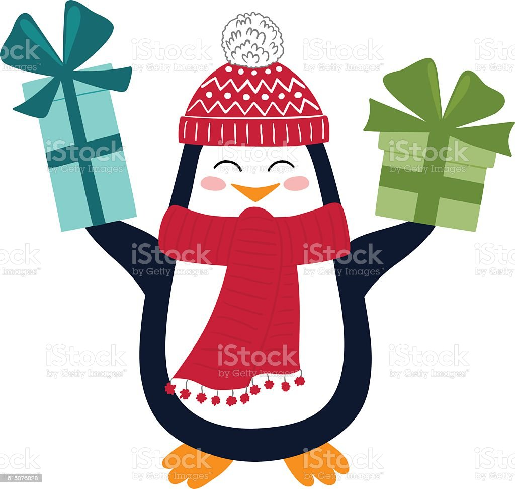 Funny Penguin With Christmas Gifts Stock Vector Art & More Images of ...