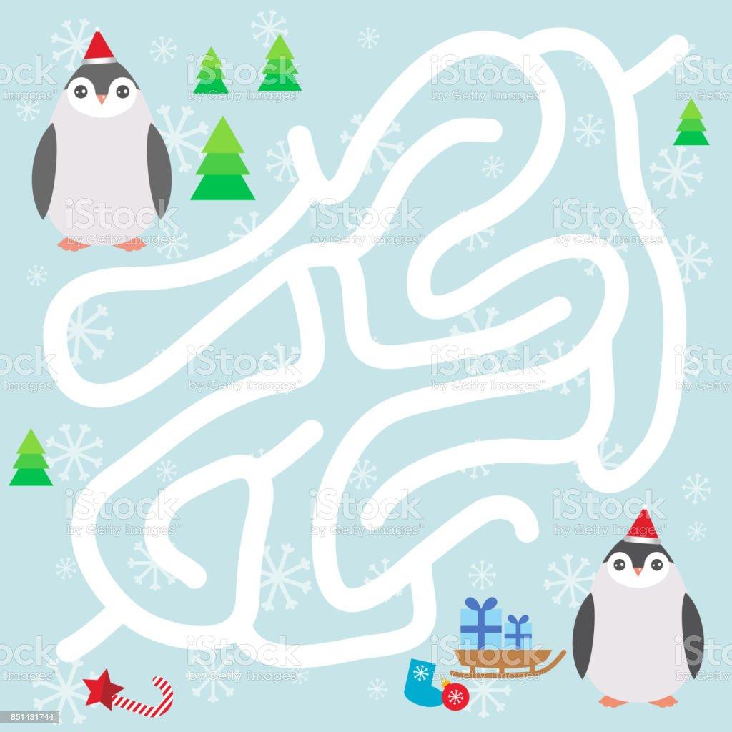 Ilustracion De Pinguinos Divertidos En El Sombrero Rojo Los Copos De