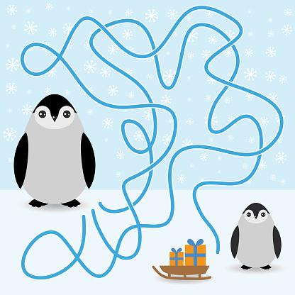Funny penguins labyrinth game  winter card for Preschool Children. vector