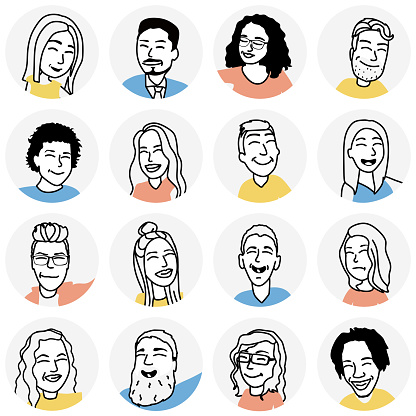 People avatars. 16 icons of people characters. Flat design style modern illustration icons collection. Portraits of men and women with different hairstyles in circular frames isolated on white background.